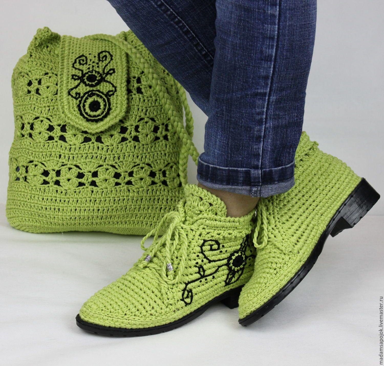 0d1b270cc1a1 Купить Льняные ботиночки вязаные сумка комплект - хаки, мокасины, мокасины  женские, мокасины вязаные