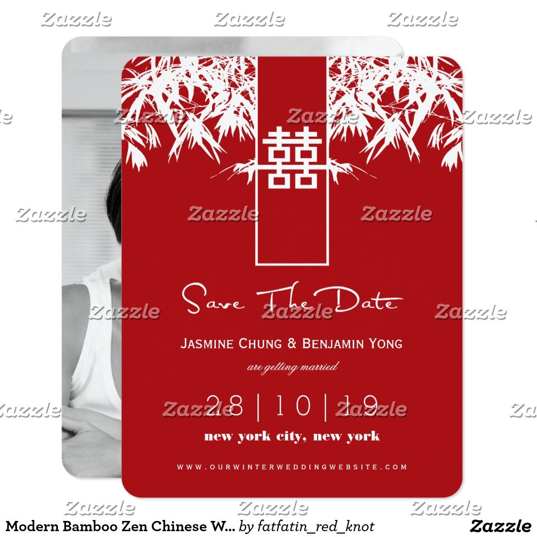 Modern Bamboo Zen Chinese Wedding Save The Date Card | Zen chinese ...
