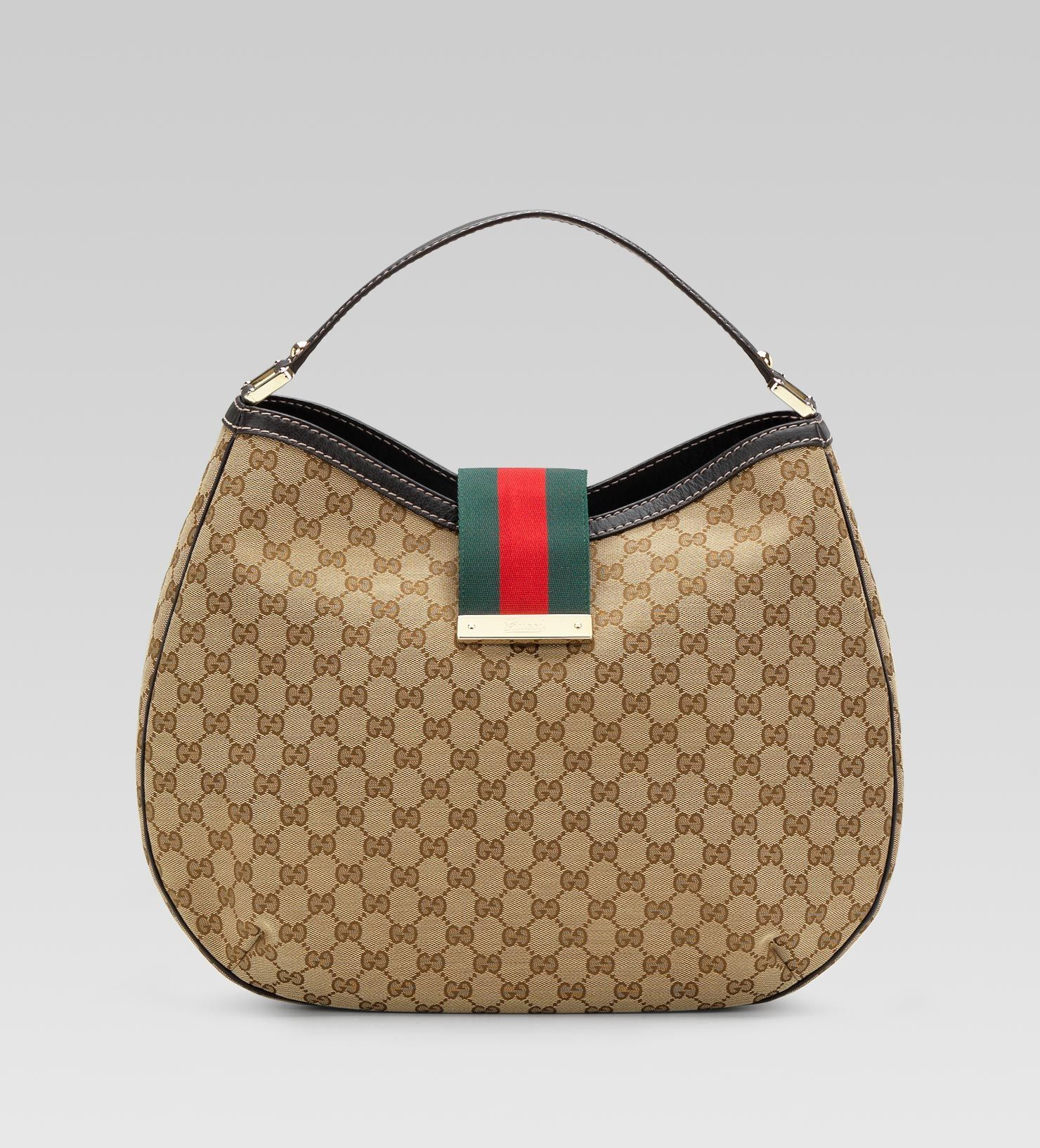 fe6996d0128 Second Gucci bag - Ladies web - large hobo with Gucci script logo    signature snap closure
