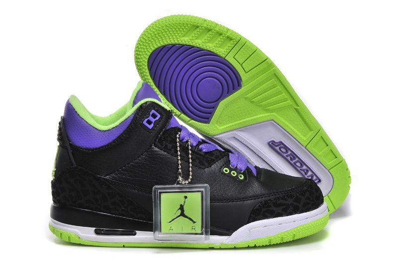 951b6e8c220 Nike Air Jordan 3 Shoes 2014 Kid s Black Purple Green.jpg (800×531 ...