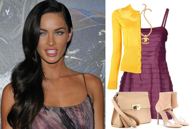 Megan Fox once stepped out wearing a yellow cardigan with a purple dress and nude shoes and looked perfectly lovely.