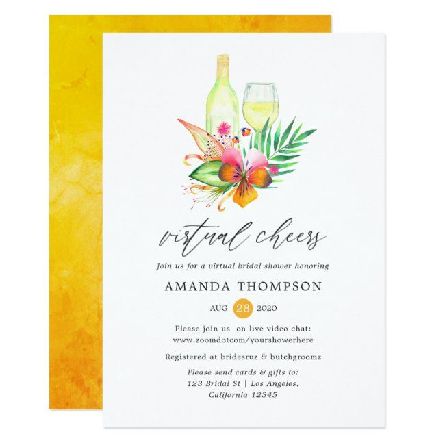 Tropical Summer Floral Wine Virtual Bridal Shower Invitation #wine #tasting #tropical #beach #wine #Invitation