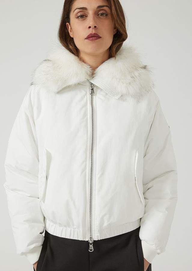 477e07b7dd Emporio Armani Padded Nylon Jacket With Faux Bearskin | instyle ...