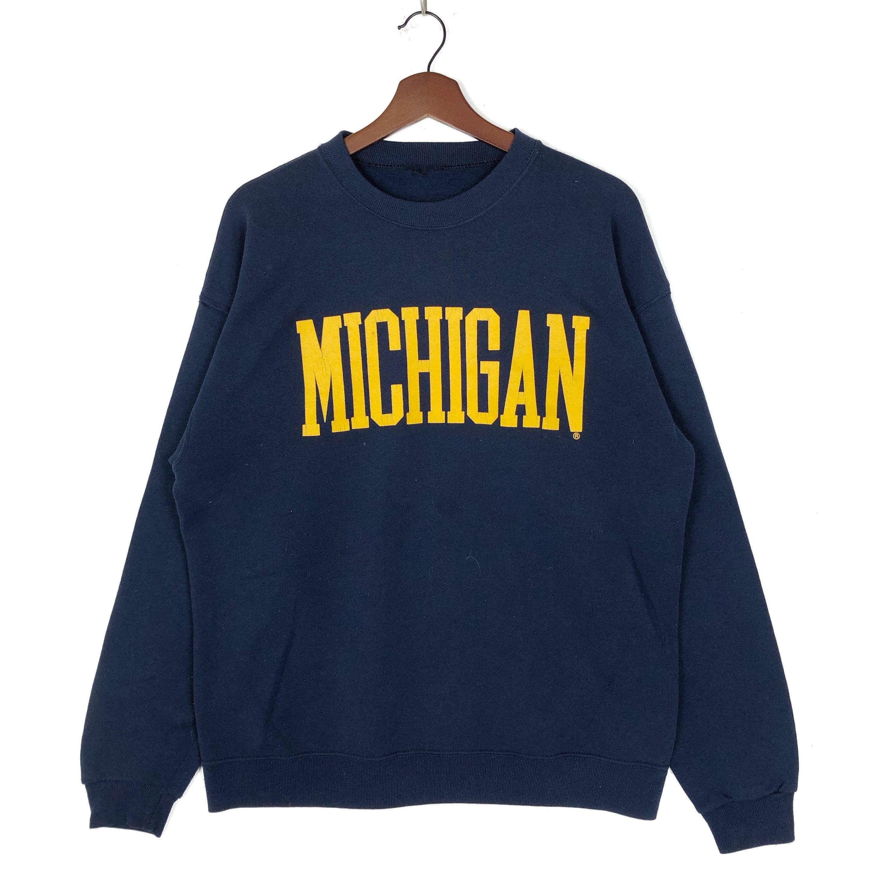 Vintage Michigan Sweatshirt Crewneck Big Spell Out Michigan Pullover Jumper Michigan Sweatshirt Sweatshirts Vintage Michigan [ 2884 x 2884 Pixel ]