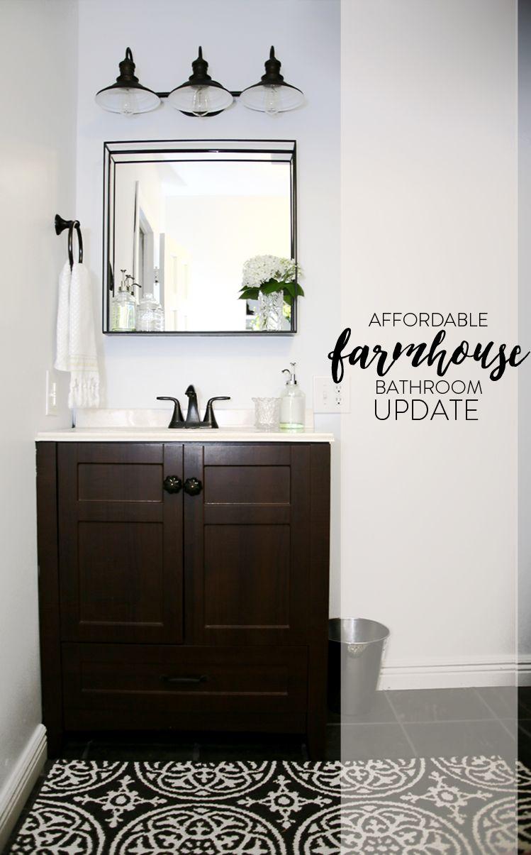 Farmhouse Bathroom, Windowless Bathroom, Simple Bathroom Update, Farm Style  Update, Inexpensive Bathroom Decor