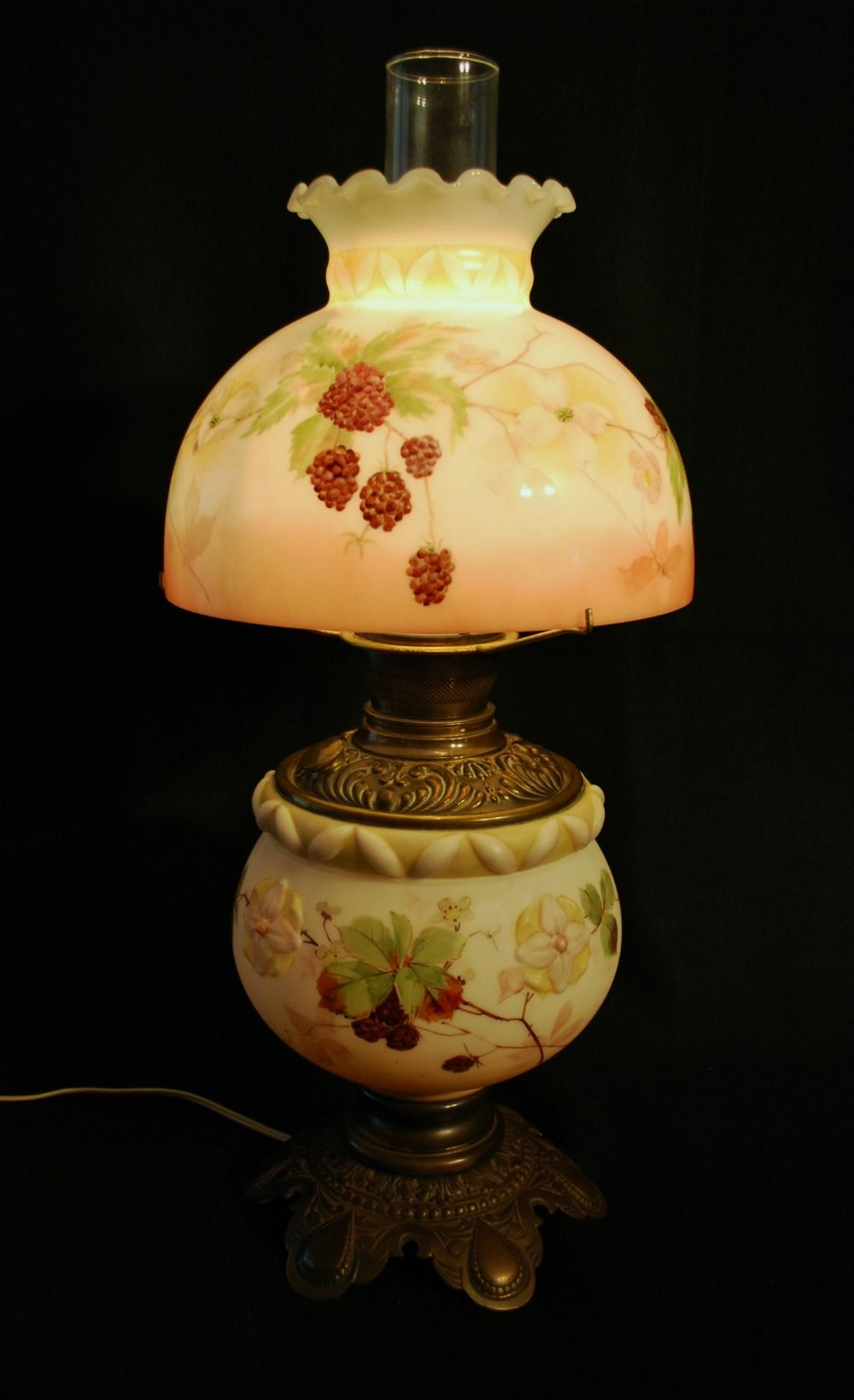 Custom painted shade for antique lamp if you are in need of a custom painted shade for antique lamp if you are in need of a replacement shade contact me through my shop newlightdesigns aloadofball Images