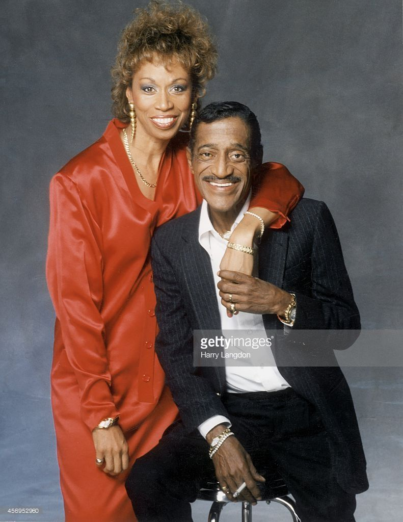 Actor Sammy Davis Jr  and wife Altovise pose for a portrait in 1988