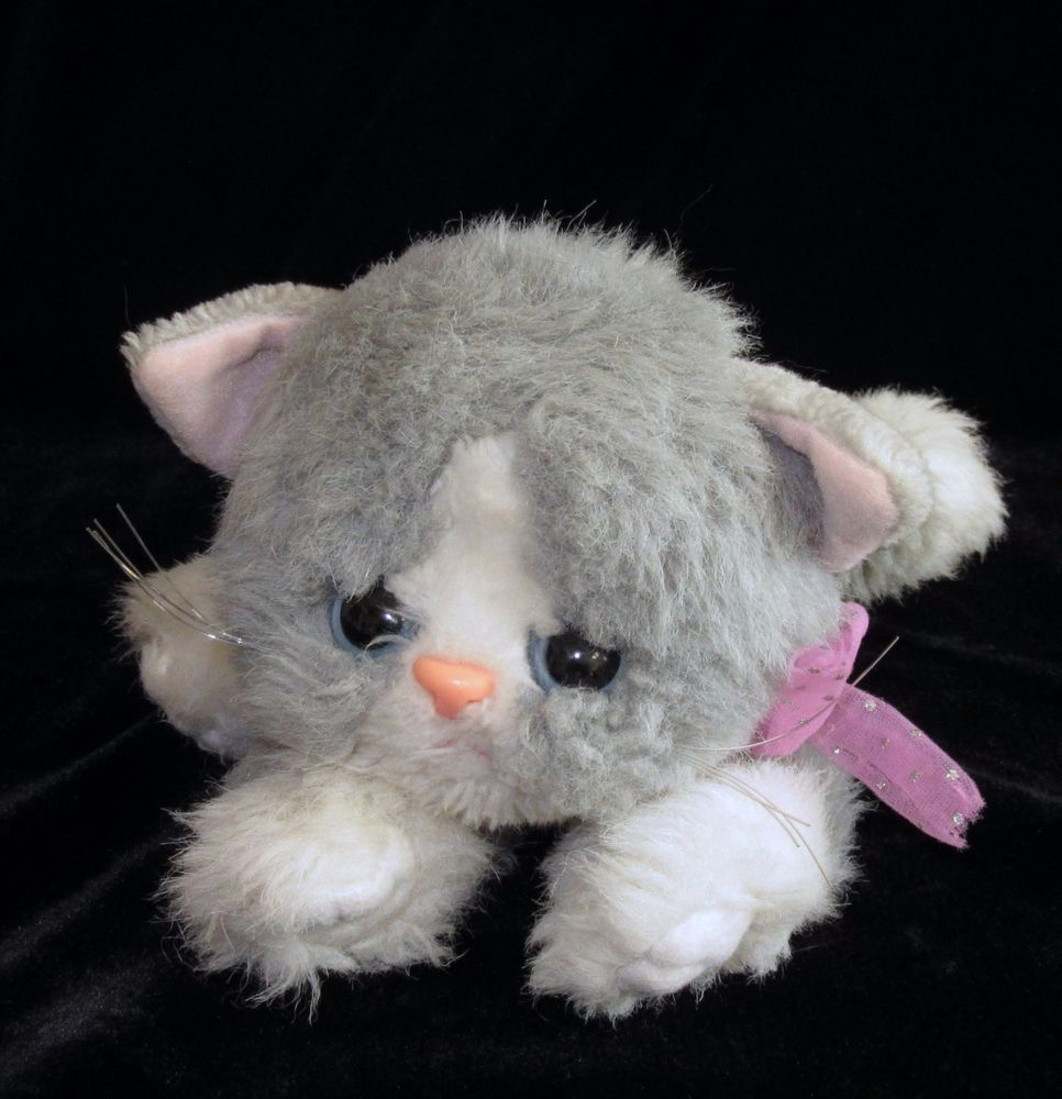Tyco Kitty Kitty Kittens Grey White Cat Purring Rattle Soft Toy Blue