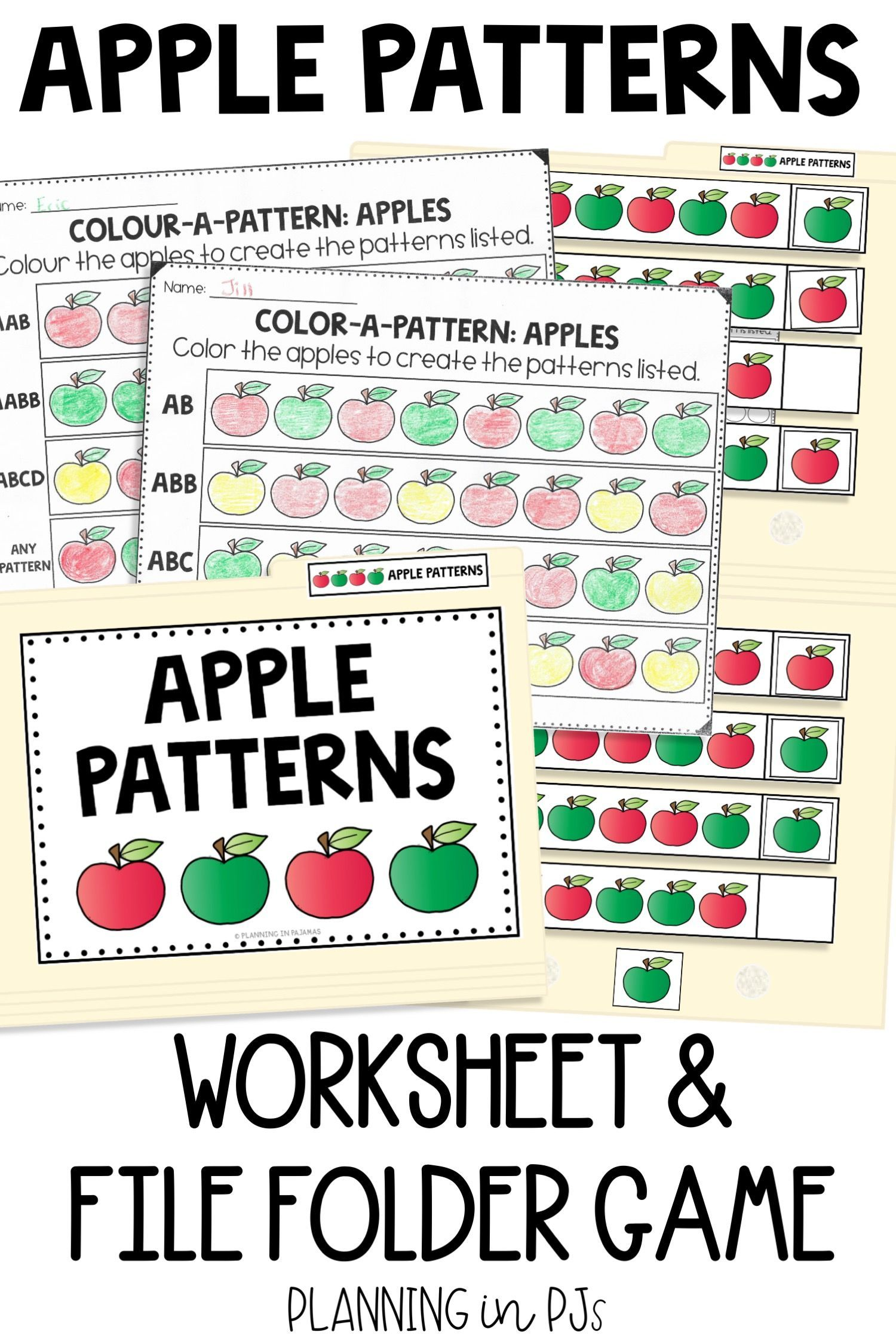 Pattern Practice With An Apples Theme Ab Abb Abc And Create Your Own Pattern With These Color A P Pattern Worksheet File Folder Games Preschool Folder Games [ 2249 x 1500 Pixel ]