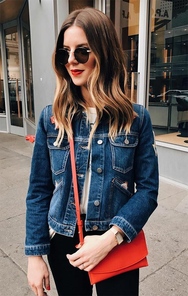 Street style look com jaqueta jeans.