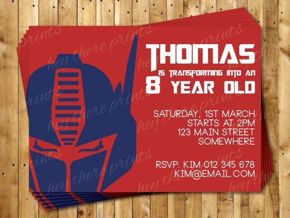 Optimus Prime Transformers Invitation Autobots Bumblebee on Etsy