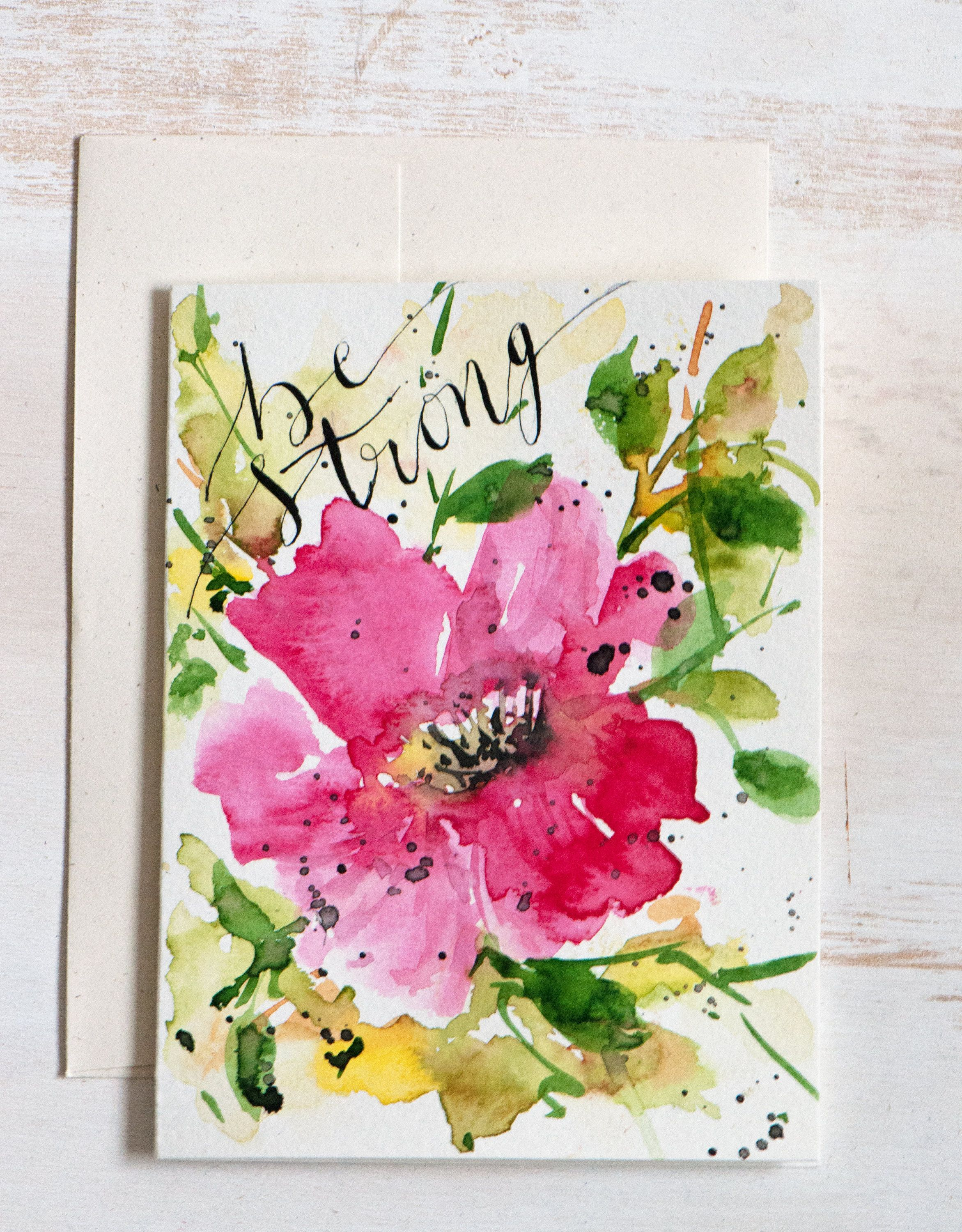 Be strong watercolor greeting card hand painted card be strong watercolor greeting card hand painted card inspirational card motivational card kristyandbryce Images