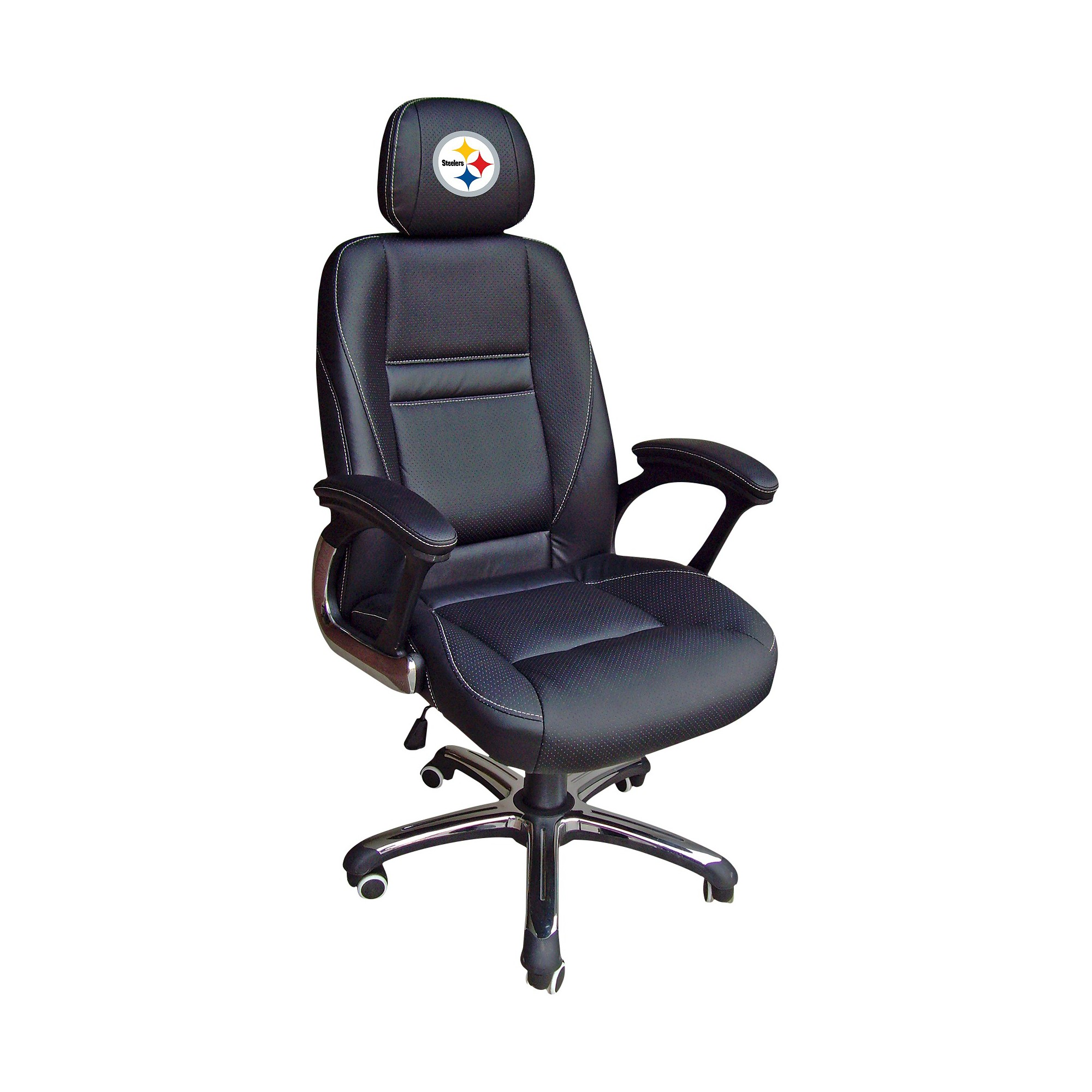 Nfl Leather Office Chair Pittsburgh Steelers Black