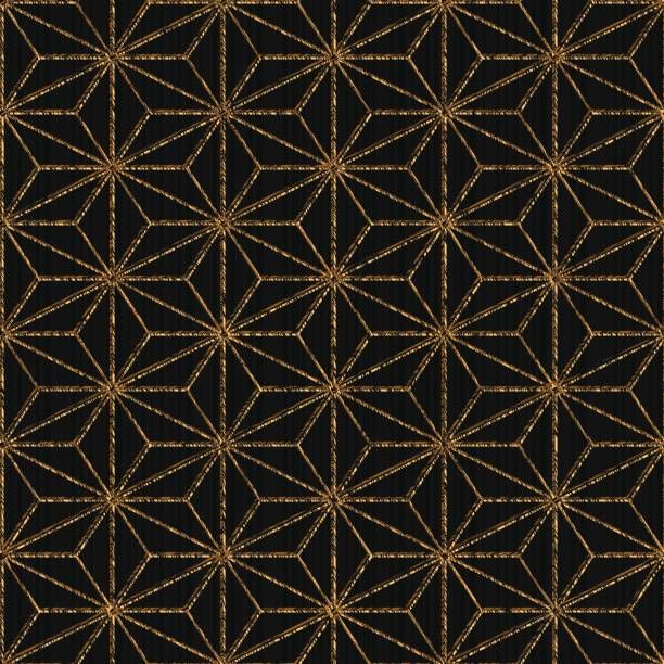 Seamless pattern based on japanese sashiko. Hemp leaf motif – Tobi…