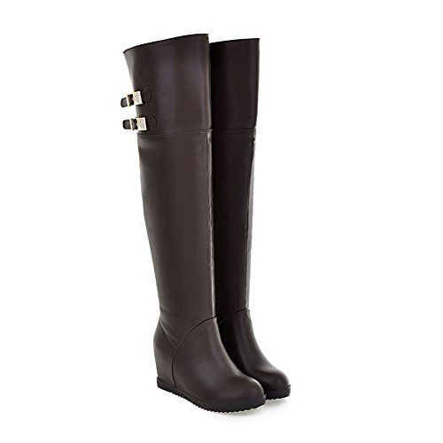 AmoonyFashion Womens Closed Round Toe High Heels Nappa Solid Boots with Heighten Inside and Buckle Brown 75 BM US >>> Read more reviews of the product by visiting the link on the image.(This is an Amazon affiliate link and I receive a commission for the sales)