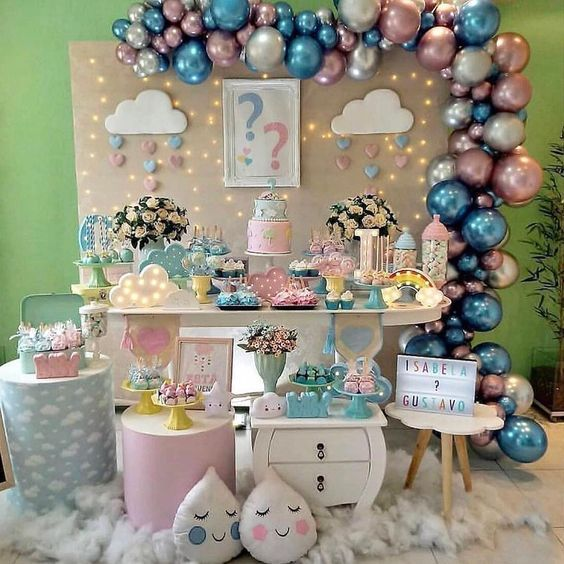 Colores De Moda Para Fiestas Infantiles Tematicas Baby Shower Gender Reveal Gender Reveal Party Decorations Baby Reveal Party