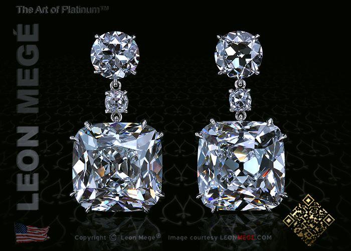 16 carat cushion cut diamond drop earrings by Leon Megé