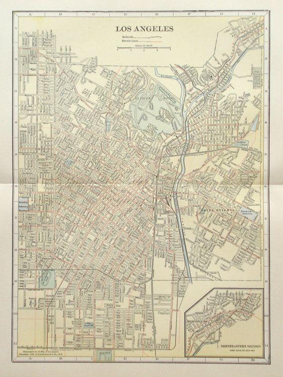 Los Angeles City Map Original 1916 Chart Print City Plan Etsy City Map Los Angeles City Book Plates