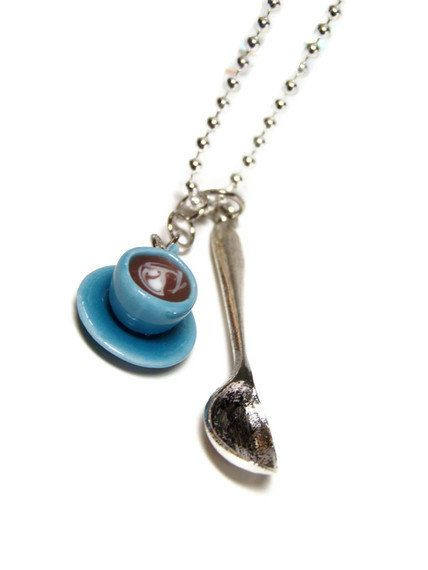 Miniature Food Jewelry Coffee Necklace with Cream