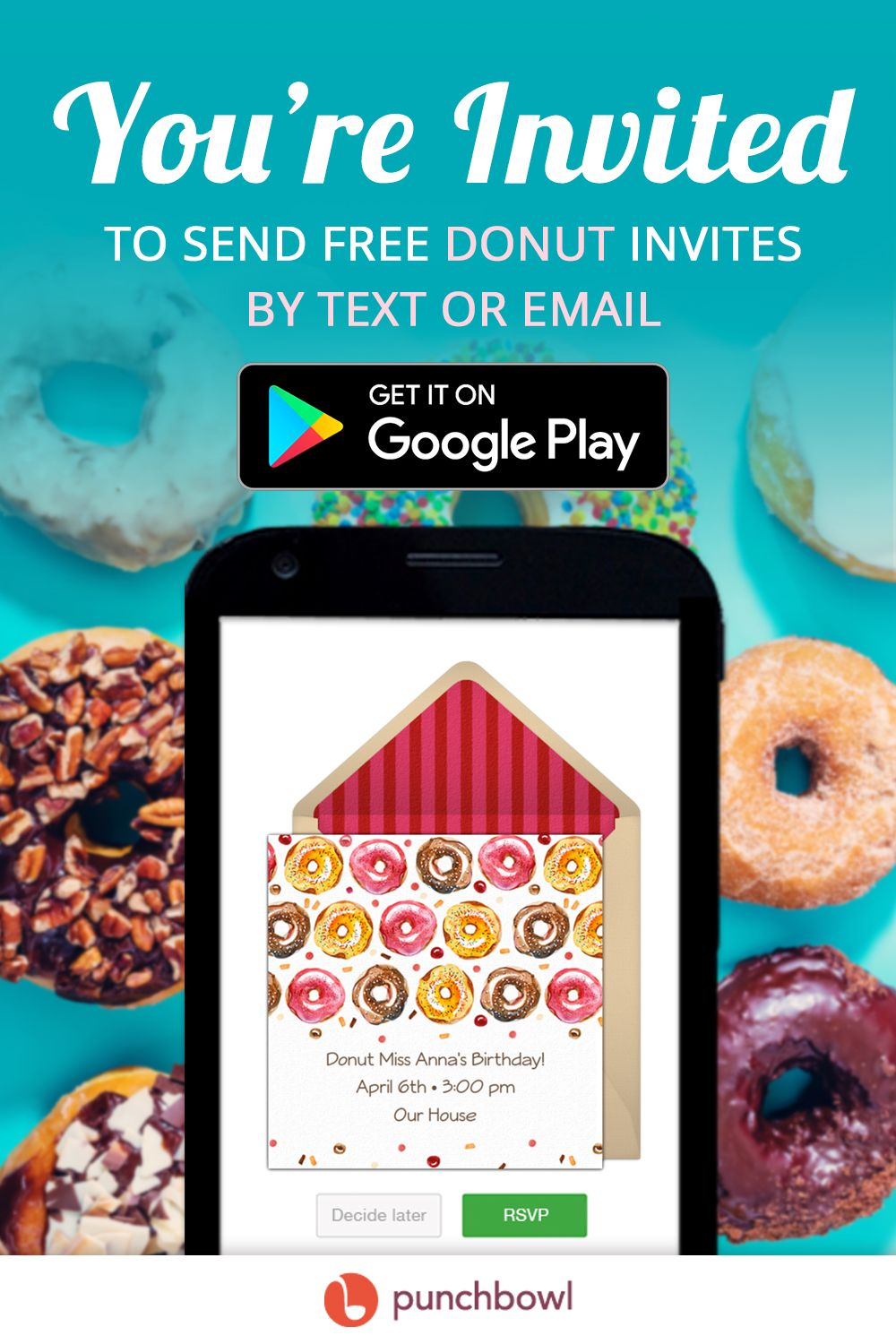 Send free Donut invitations by text message right from