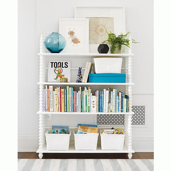 Kids' Bookcases: Kids White Jenny Lind Spindle Bookcase In