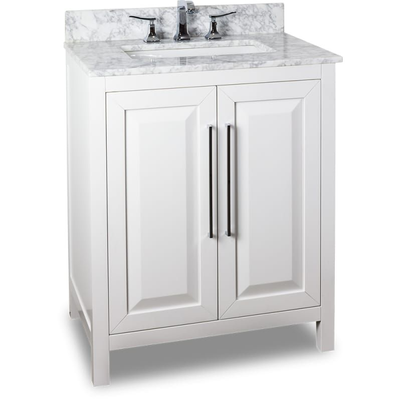 Jeffrey Alexander VAN104-30-T White 30 Inch Single Free Standing Vanity Set with Hardwood Cabinet, Marble Top, and Rectangular Undermount Sink from the Cade Contempo Collection
