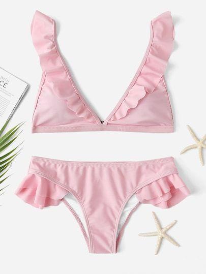 Ruffle Triangle Top With Low Rise Bikini Set  fb3857bff