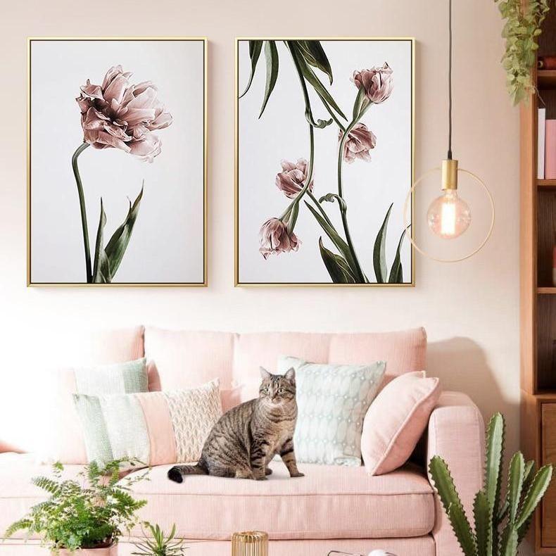 Romantic Pink Flowers Canvas Wall Art Flower Canvas Wall Art Floral Wall Art Wall Art Canvas Painting