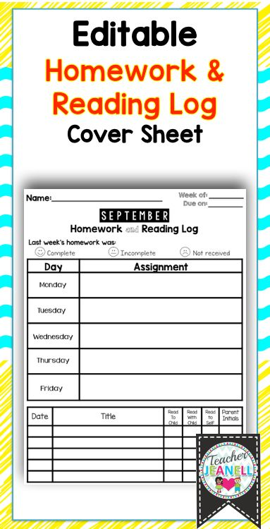Homework Cover Sheet With Reading Log  Editable  Reading Logs