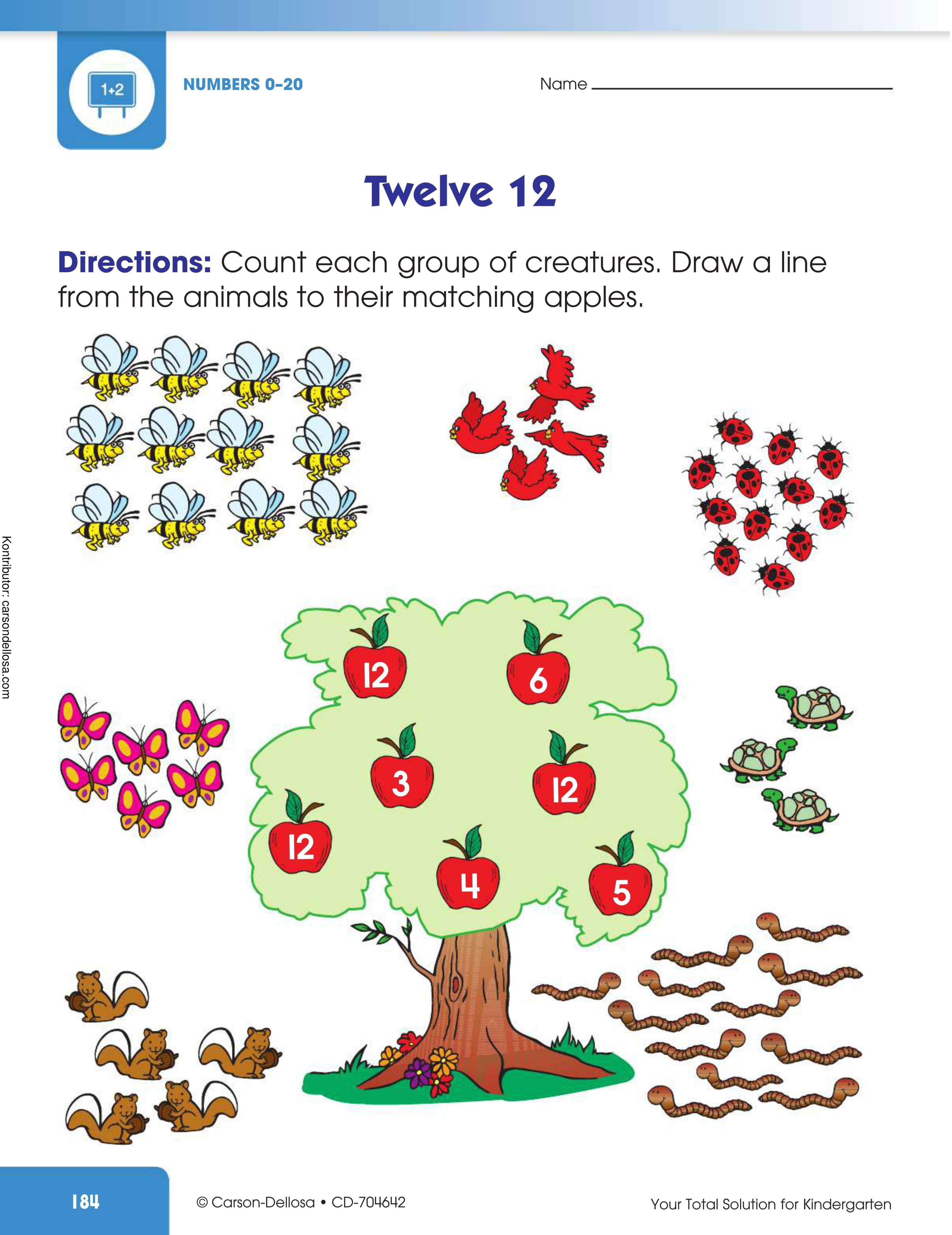Mengenal Angka 12 Menghitung Dan Menghubungkan Gambar Gambar Hubungan Anak