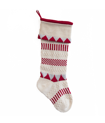 Handknit Xmas stocking Handknit striped stocking Striped Christmas stocking Christmas decor Red gray stocking Red white stocking