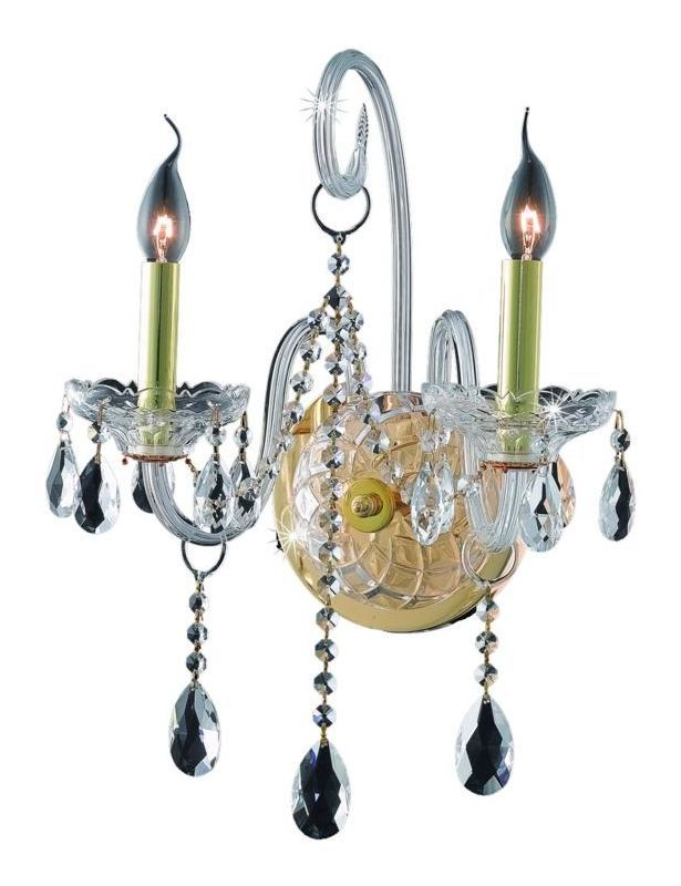 Elegant Lighting 7952W2G Verona 2-Light Crystal Wall Sconce Finished in Gold wi