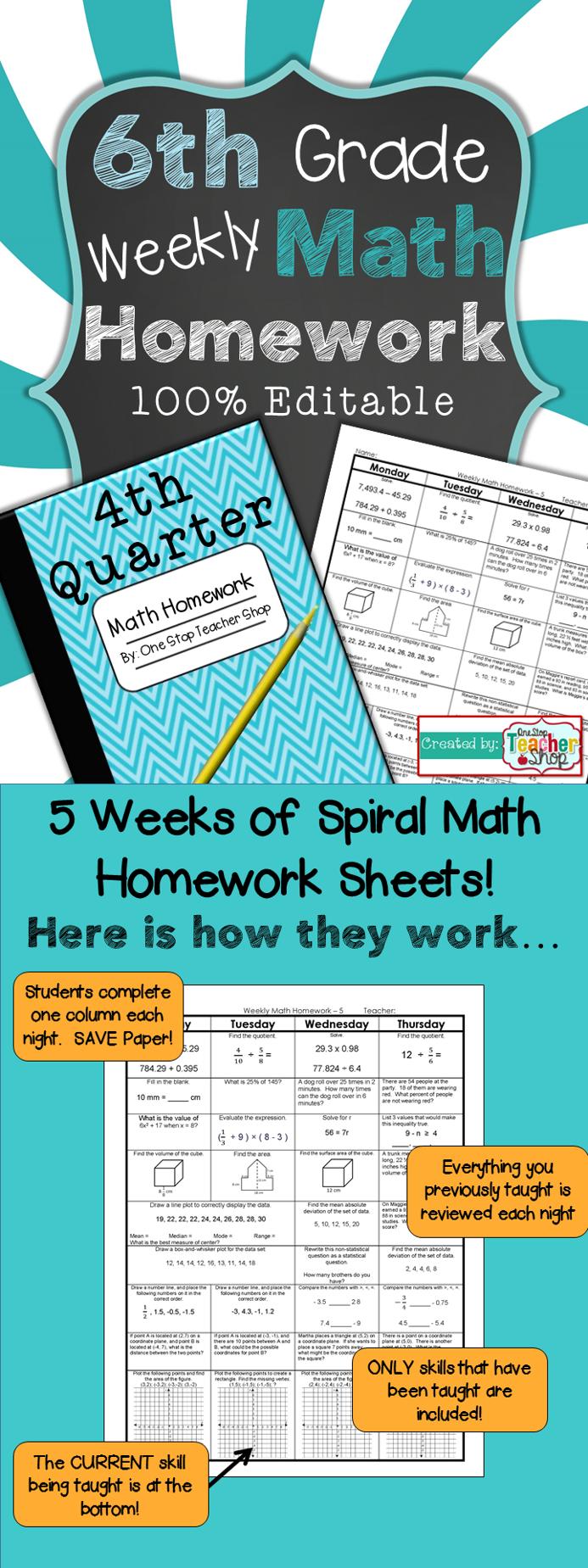 6th Grade Math Review | Homework or Warm Ups | 4th Quarter ...