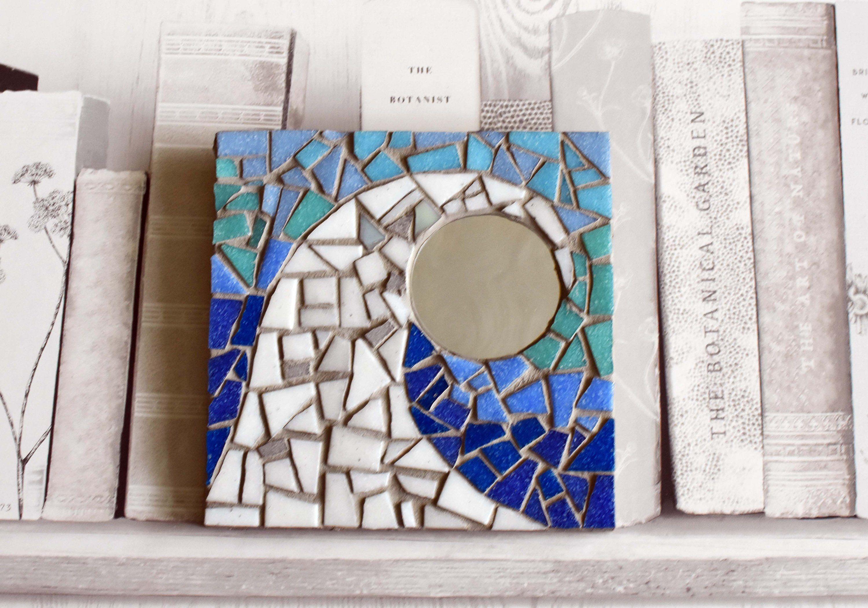 Glass mosaic wall art wave mirror
