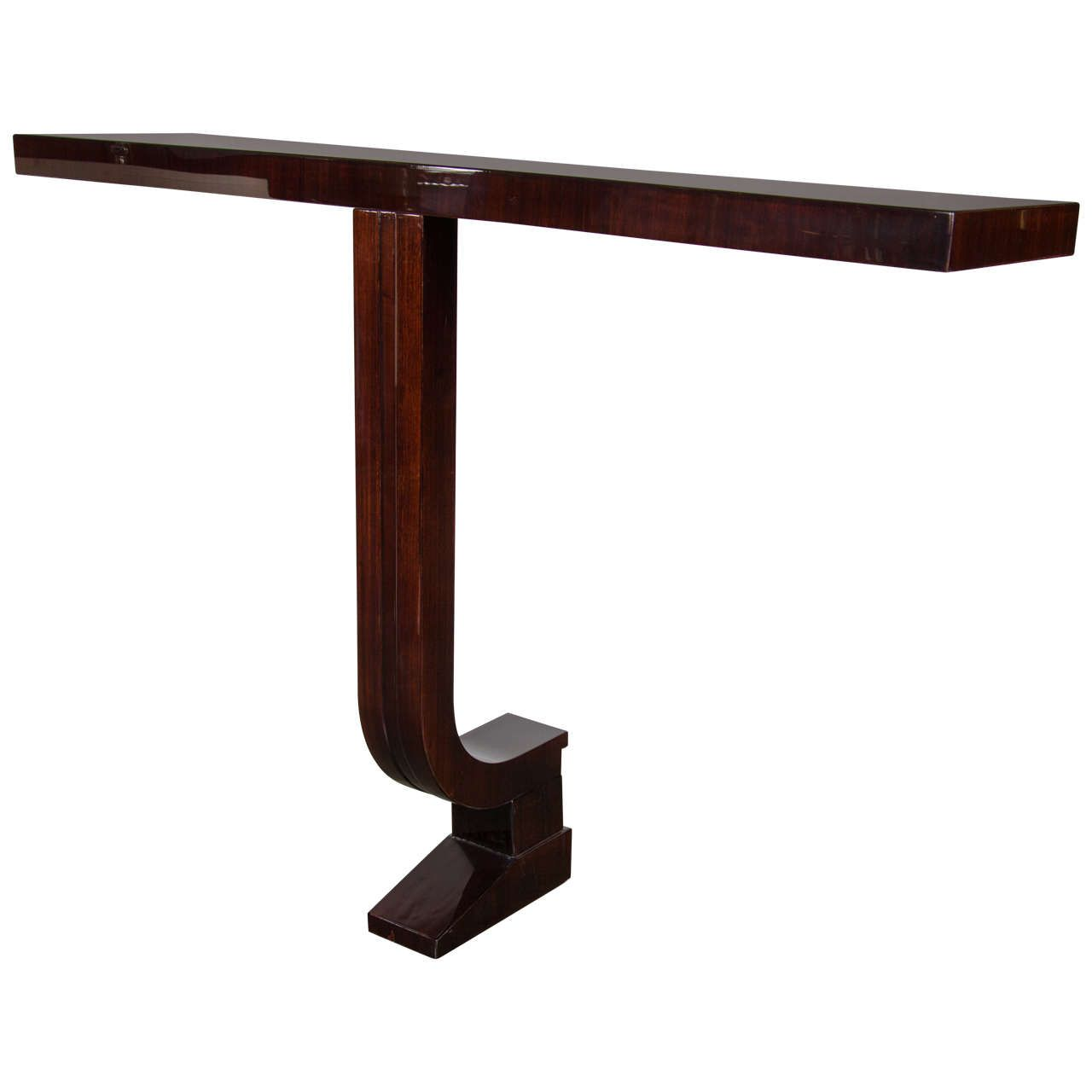 Exquisite Streamlined Art Deco Wall Mounted Console in Mahogany