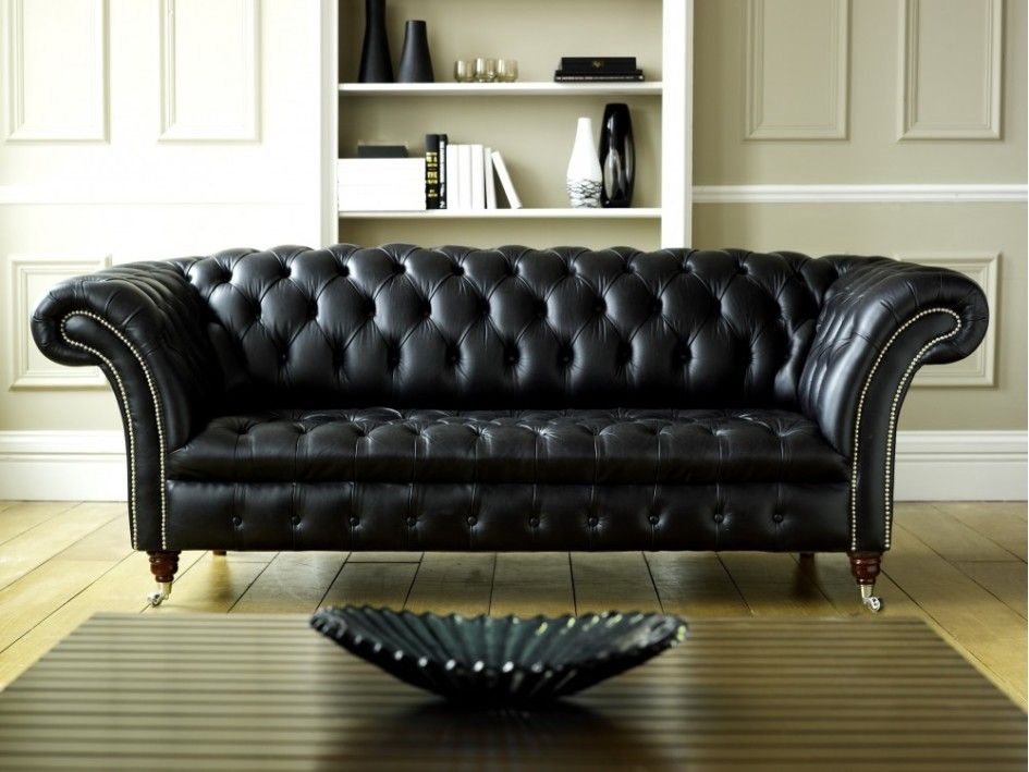 Furniture, Awesome Black Leather Chesterfield Sofa Design Ideas With  Intrinsically Luxurious Also Old Fashioned For