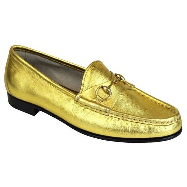 527377d088e92 Pre-Owned Gucci 1953 Gold Leather Loafers Hoesebit Moccasins 340677...  (24.175