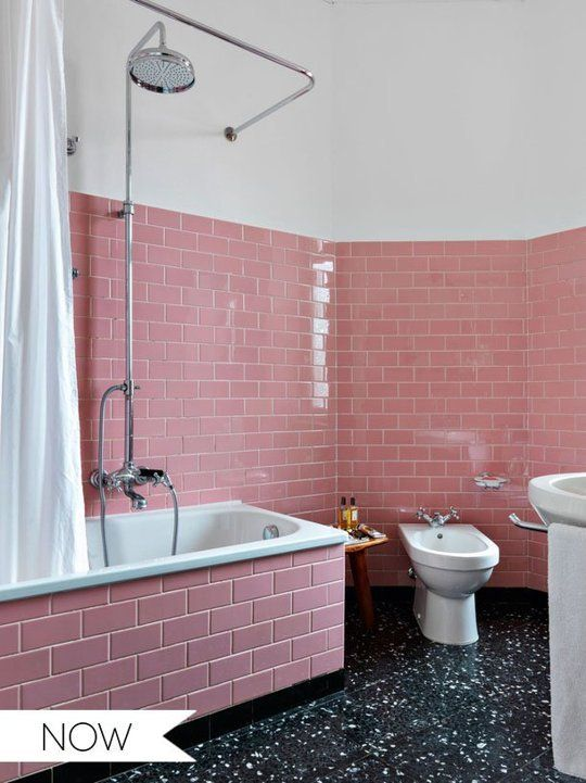 Everything Old Is New Again Pink Tile In The Bathroom Then Now
