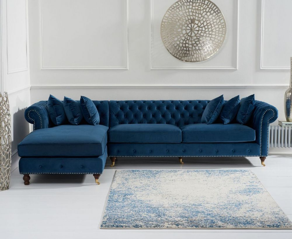 Chic And Practical The Flora Blue Velvet Left Facing Chesterfield Chaise Sofa Brings Comfort And Styl Corner Sofa And Chair Living Room Sofa Design Chaise Sofa