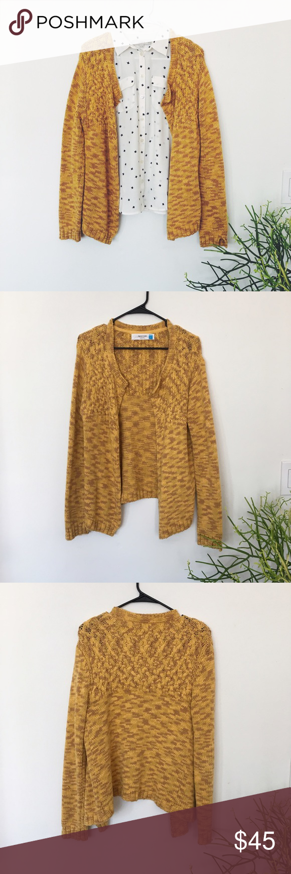 Sparrow Mustard Yellow Lodi Cardigan Amazing yellow and brown open cardigan sweater in a spacedye knit and various textures. It is cozy enough for fall but cheery enough for spring for year-round wear. Size is L, but I wear it slightly oversized as a S. In great condition. No wear that I can see. The star print button-up is for sale as well! Anthropologie Sweaters Cardigans