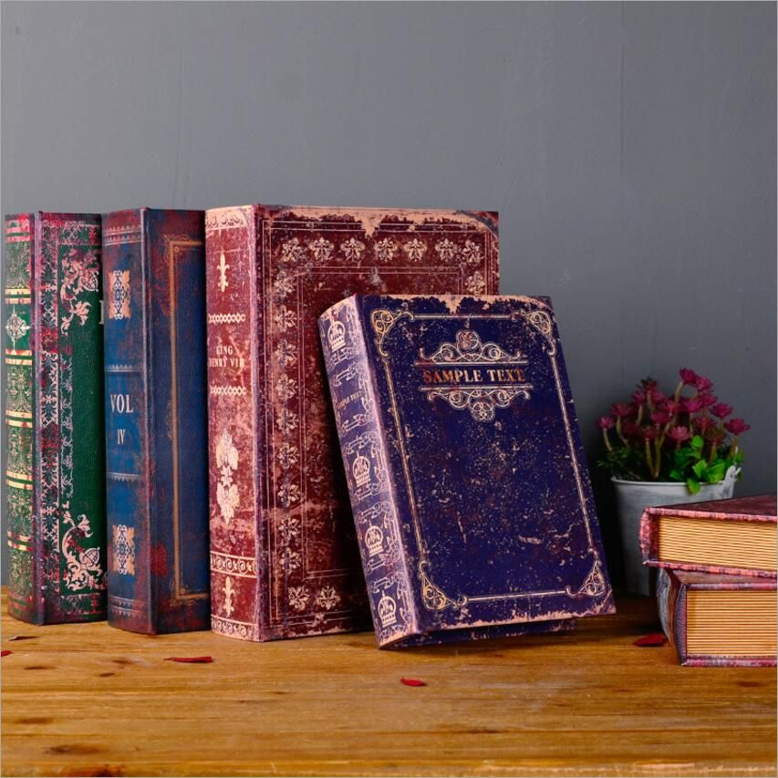 Decorative Fake Book Boxes Retro Fake Book Box European Ornaments Nostalgic Home Decorations