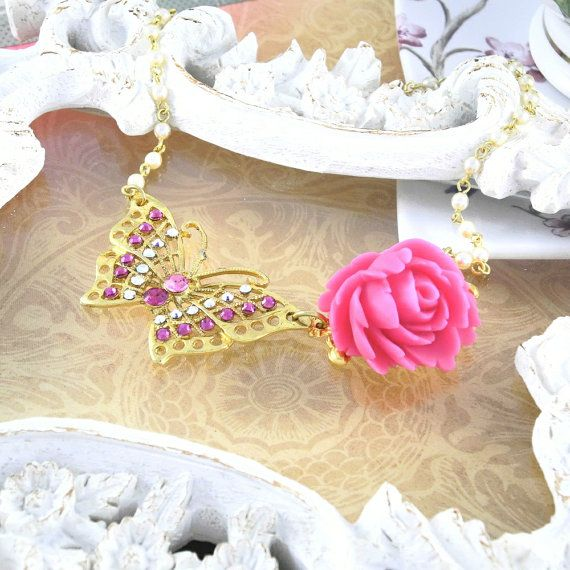 Gold / Pink Butterfly Tea Party Necklace by MisfitJewels on Etsy, $30.00