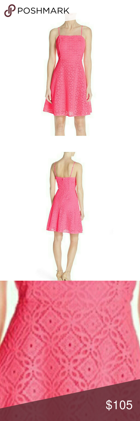 NWT Lilly Pulitzer Jennilee Lace Dress Hot pink lace heightens the ...
