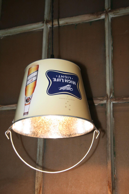 Bar / Man Cave Decor Beer Bucket Pendant Light   Hanging Bucket Lighting.  $49.00,