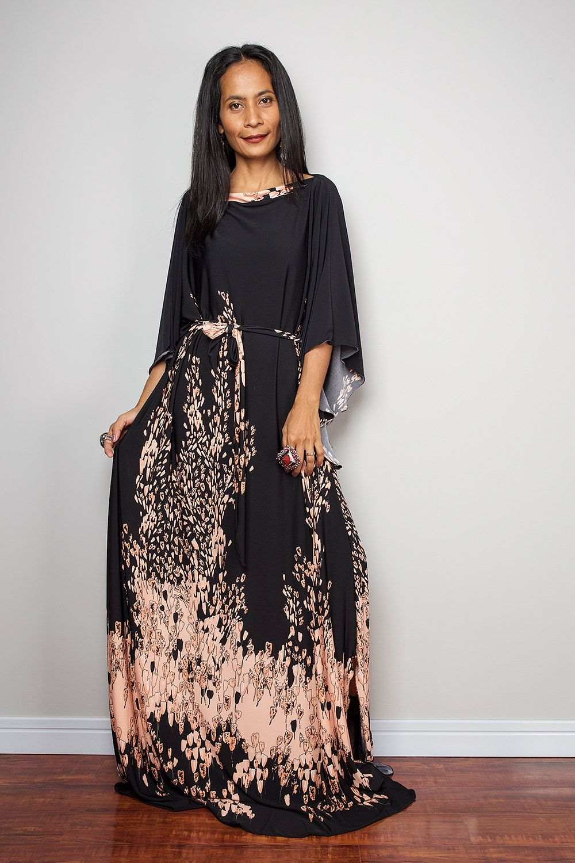 64158d946b1e Boho Dress Long Wide Sleeve Black Dress with Floral by Nuichan ...