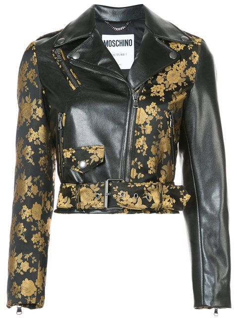 Moschino Floral Two Tone Cropped Biker Jacket - Farfetch