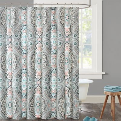 Echo Sterling Shower Curtain In Blue Red Bathroom Red Sterling