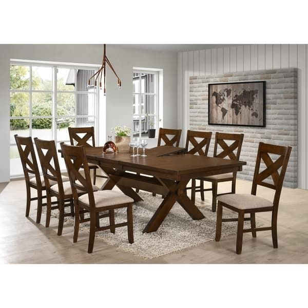 Remarkable 9 Piece Solid Wood Dining Set With Table And 8 Chairs Machost Co Dining Chair Design Ideas Machostcouk
