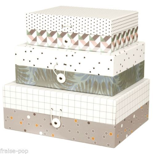 Boite De Rangement En Carton Present Time Scandinave Geometrique Jungle Harmony Storage Boxes Small Item Storage Storage