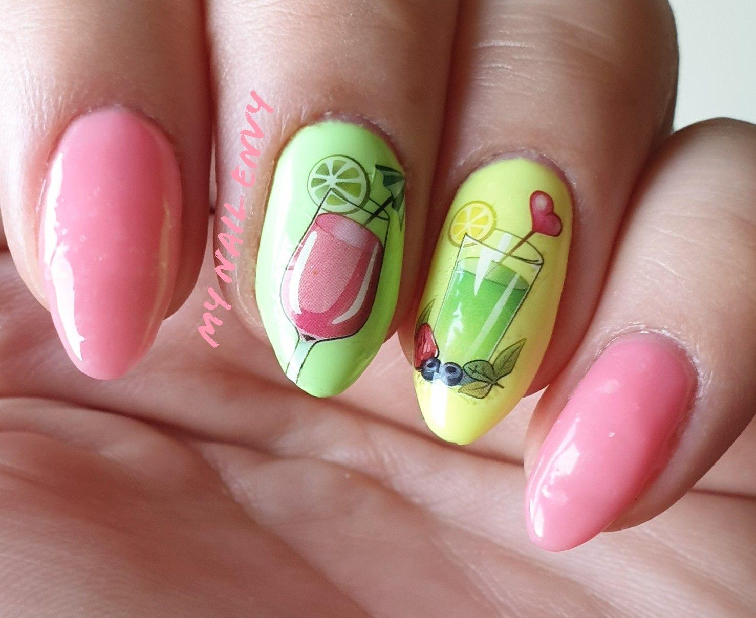 🍹  #nailart #shortnails #naturalnails #nails #mani #nailsaddict #nailblogger #nailspiration #tropicalnails #summernails #cocktailnails